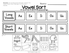"Activities, picture cards/sorting mats, worksheets, and ""lift the flap"" books to teach short and long vowels."