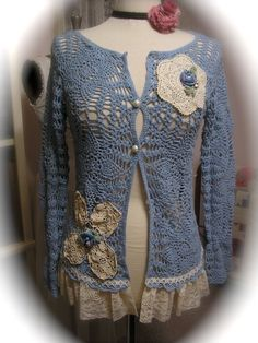 Doily Crochet Sweater, shabby cotton vintage doilies lace upcycled altered clothes MEDIUM. $80.00, via Etsy.