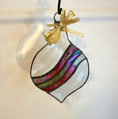 Beveled ornament stained glass Christmas by Glasspainter1 on Etsy, $28.00