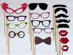 Props to take pictures with: Cat eye glasses, bow ties, mustaches & lipstick lips
