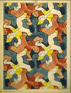 M.C. Escher – Clowns (No. 21). 1938 Pencil, ink, watercolor.