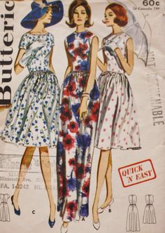 1960s Fitted Bodice Day Dress or Evening Dress Butterick 3000 Vintage Sewing Pattern by BluetreeSewingStudio on Etsy