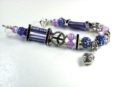 Lavendar Crystal Peace Sign Bracelet New Design for A New Year! by Chris of PurseCharming7 on Etsy, $32.00
