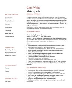 Makeup Artist Resume Sample Resume Examples Pinterest Makeup