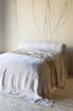 Homespun Coverlet and Bolster Linen embellished with lace