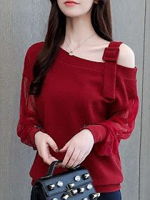 Open Shoulder Long Sleeve Blouse Get the latest womens fashion online With of new styles every day from dresses, onesies, heels, & coats, # Bell Sleeve Blouse, Short Sleeve Blouse, Long Sleeve, Stylish Dresses, Trendy Outfits, Summer Outfits, Lace Sleeves, Fashion Clothes, Fashion Fashion