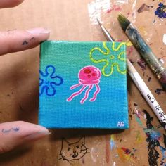 Small Canvas Paintings, Easy Canvas Art, Small Canvas Art, Mini Canvas Art, Cute Paintings, Acrylic Painting Canvas, Hippie Painting, Trippy Painting, Cool Art Drawings