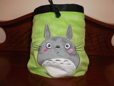 Green Totoro Rock Climbing Chalk Bag made from a child's plush toy bag