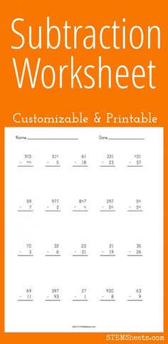 Subtraction Worksheet - Customizable and Printable