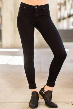 All Purpose Black Skinny Jeans at reddressboutique.com