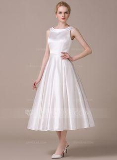 [SEK 1097] A-linjeformat Rund-urringning Tea-lång Satäng Bröllopsklänning (002059211)
