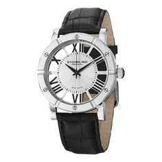 fb59ac8536477 Show off a style of unique professionalism with the cut-out dial of Roman  numerals on this Stuhrling Original men s Swiss quartz strap watch.