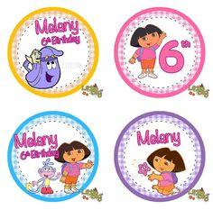 Dora  Cupcake Toppers Printable - Dora the Explorer Party - Dora Party - Dora Birthday - Dora Decoration - Dora Favors - Dora Cupcake. $5.00, via Etsy.