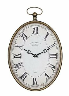 """Pocket Watch Wall Clock CRCP HD5925-30 by Creative Co-op. $68.99. Metal Pocket Watch Wall Clock features Roman numeral, distressed face with oval shaped metal edging. 12.5"""" L x 20.25"""" H"""