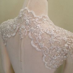 Wedding Bridal Ivory and Silver Beaded Lace by Chuletindesigns