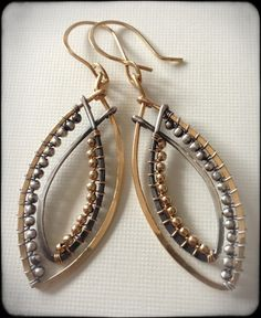 Goldfilled and silver earrings with contrasting by anikojewelry, $50.00