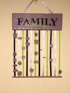 Birthday family, calendrier permanent des anniversaires de vos proches : Décorations murales par liloupcrea