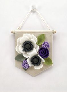 Mini+Felt+Floral+Banner++Purple+