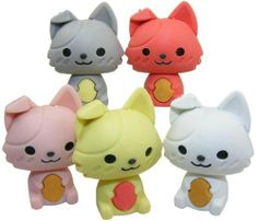 Kawaii Puppy Erasers 5 Pcs, New 2012 by Kawaii. $6.09. Kawaii Cat Erasers.. Kawaii Puppy Erasers. 5 Pcs. New 2012. Made in Korea.  Limited Supply. Rare. Collectable.