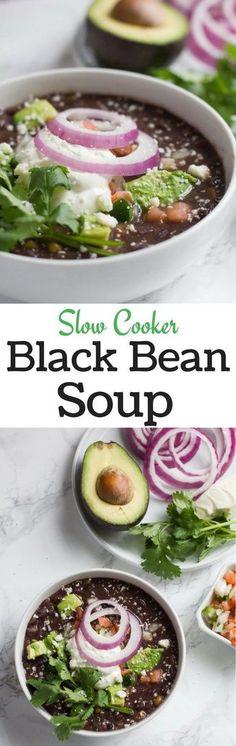 Black Beans   Soup   Slow Cooker   Crock Pot   Winter Soups   Easy Recipes   Mexican Soup