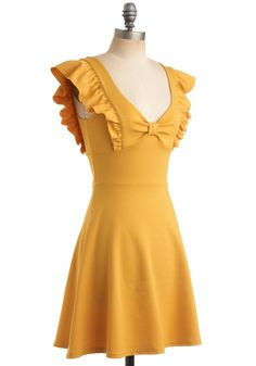A-maizing Harvest Dress. As summer turns to fall, you take in a deep breath of crisp country air and marvel through the window at the colorful change of the leaves on the trees in the orchard. #yellow #modcloth
