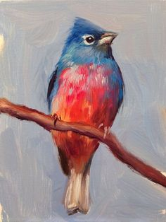 Rose-bellied Bunting Original oil painting 5 x by shaunafinnart Pastel Artwork, Bird Drawings, Bird Art, Blue Bird, Bunting, Art Projects, Canvas Art, Birds, Watercolor