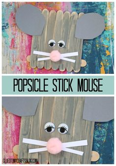 Turn a simple popsicle stick fence base into a mouse with ease!!! Just paint your newly created wood shape completely gray and add cardstock pieces to complete the look!  Find TONS of simple kid craft tutorials on Glued To My Crafts!