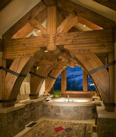 Beautiful stonework. Great view. Rustic look. #bathroom #design