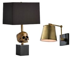 Hello, Handsome: How to Create a Masculine Space - The Scout Guide | 'Casper' table lamp (left) and 'Watson' well sconce (right) available from Clayton Gray Home in Tampa, Florida.