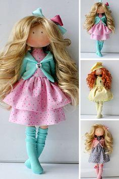 Fabric doll Tilda doll Textile doll Rag doll Muñecas Pink doll