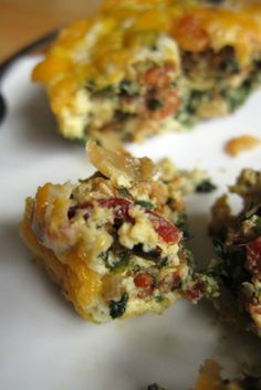 Crustless Bacon.Egg ,Spinach and Cheese quiche...  Tomorrow's breakfast perhaps?