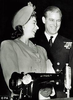 Future Queen Elizabeth II (Elizabeth Alexandra Mary) (1926-living2013) UK &  Prince Phillip Duke of Edinburgh (Philip Mountbatten-born Prince Philip) (1921-living2013) Greece by unknown artist.