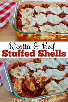 Cheesy and Meaty Stuffed Shells are easy to make and so full of flavor. Don't miss the best stuffed shells recipe. #stuffedshells #beefstuffedshells