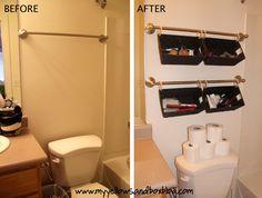 Suspendre des barres et des paniers au-dessus des toilettes pour ranger