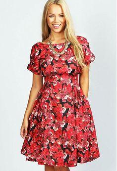 Louisa Red Rose Print Midi Dress $55