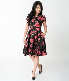 05980d0b95f5 1950s Style Black   Red Rose Print Mona Cotton Swing Dress – Unique Vintage  1950s Fashion