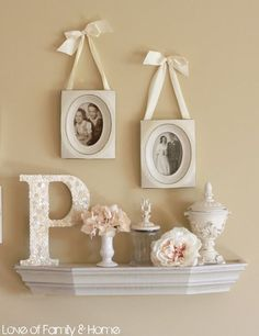 DIY  Shabby Button Covered Monogram...& Vignette How to  I like the shelf and pictures...