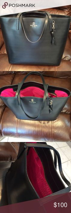 "Black Kate spade bag 2 year old approx. gently used, however the straps on one side are ""cracked""- tried to show in picture. In great condition besides that. kate spade Bags Shoulder Bags"