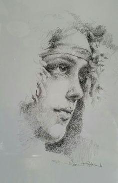 Charcoal pencil drawing of Evelyn Nesbitt by Robin Mount-Straub