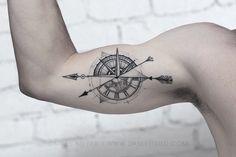 Risultati immagini per geometric compass tattoo Compass Tattoos Arm, Bicep Tattoo Men, Inner Bicep Tattoo, Forearm Tattoos, Arm Band Tattoo, Simbols Tattoo, Map Tattoos, Sleeve Tattoos, Clock Tattoo Design