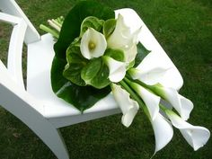 Pageant bouquet of italian ruscus and calla lilies.