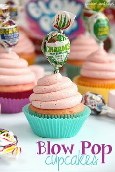 Blow Pop Cupcakes-Strawberry Marshmallow filled Strawberry Cupcake with Bubble Gum Marshmallow Buttercream.