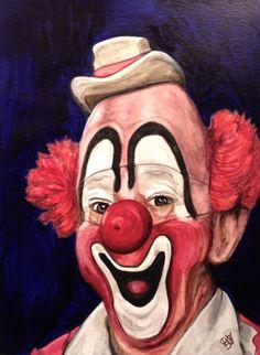 Watercolor Clown #3 Lou Jacobs by Patty Vicknair | ArtWanted.com