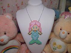 Pastel Mermaid perler bead Sprite Necklace