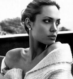 black and white beauty photography | actress, angelina jolie, beauty, black and white, celebrity, cheek ...