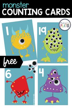 These monster counting cards are sure to kick up the cool math factor. Little monsters will love practicing number recognition and counting as they add eyes to each monster card. The freebie's an uber fun way to practice the numbers 1 to 20. Your kids will love these counting cards so much! They make a great addition to your pre k classroom or your pre k homeschool curriculum.