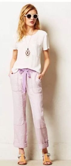 By Hei Hei. When it comes to basics, we can't get enough of easy, thoughtful pieces that go beyond the call of casual duty, such as these lace-trimmed cargos from Hei Hei. Color: Lilac. 100% Linen. Trim: 100% Cotton lace.   eBay!