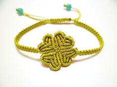 Four Leaf Clover Macrame Knot Friendship Lime Cord Bracelet