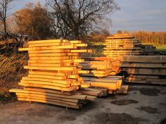 The wood store at Castle Ring - beautiful evening light #timberframe #selfbuild #Wales