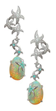 Opal Earrings with Diamond and Paraiba Tourmaline from the Océane Earrings Collection / Mathon Paris